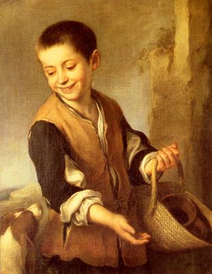 Murillo Bartolome Estaban Urchin With A Dog And Basket