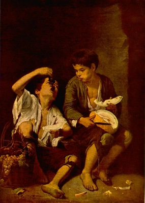 Murillo Boys Eating Fruit Grape and Melon Eaters , ca 1670,
