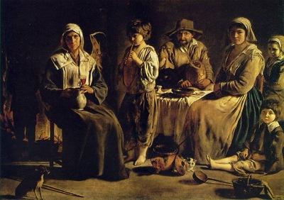 Le Nain Peasant Family in an Interior, ca 1642, 113x159 cm,