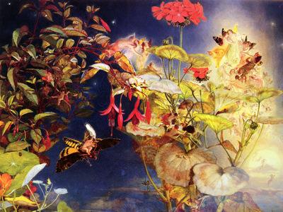 Naish John George British 1824 to 1905 Midsummer Fairies SwMonogram O P 35 6 by 45 7cm