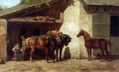 Nakken Willem Karel Horses at the blacksmith Sun