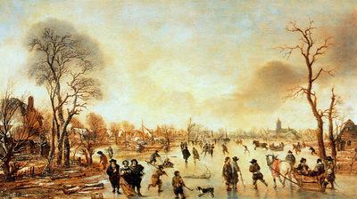 Neer van der Aert Winter landscape Sun