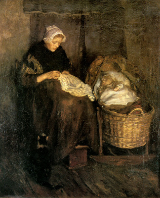 Neuhuys Albert Woman at cradle Sun
