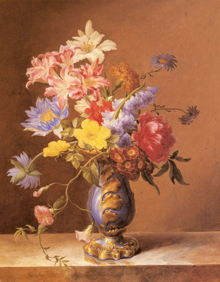 Nigg Josef Flowers In A Blue Vase
