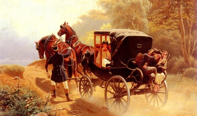 Nikutowski Arthur Johann Severin A Carriage Taking A Difficult Hill