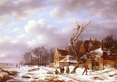 Noter Pierre Francois de Gathering Wood In A Winter Landscape