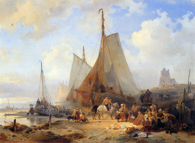 Nuijen Wijnandus Fishingboats on the beach Sun