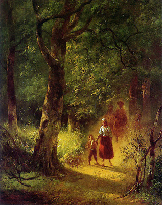 Nuyen Wijnand Figures in a forest Sun