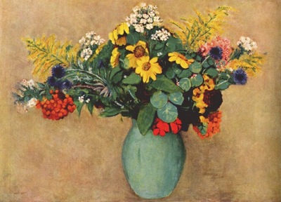 redon flowers in a green vase c1910