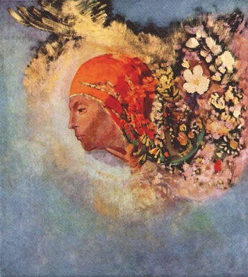 redon head with flowers c1895