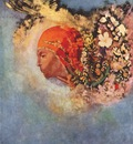 redon head with flowers c1895
