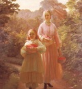 Olrik Ole Henrik Sisters Gathering Raspberries And Roses Summer