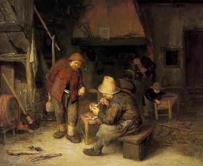 Ostade van Adriaen Peasants at Inn Sun