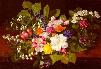 Ottensen Otto Didrik A Bouquet Of Spring Flowers On A Ledge