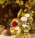 Ottensen Otto Didrik A Still Life With Fruit Flowers And A Vine