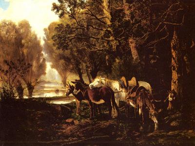Palizzi Giuseppe A Horse And Donkeys Awaiting The Faggot Gatherer