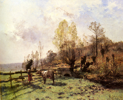 Pelouse Leon Germain A Pastoral Scene With A Milkmaid And A Cow