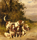 De Penne Charles Olivier Hunting Dogs On A Forest Path