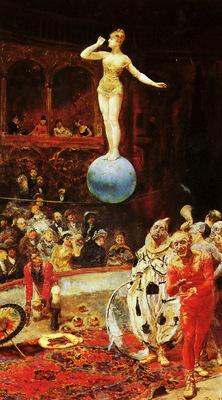 Peralta del Campo Francisco Spanish 1897 La Salida Del Circo SND Roma89 OC 71by41cm