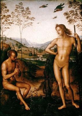 Perugino Apollo and Marsyas, ca 1495, 39x29 cm, Louvre