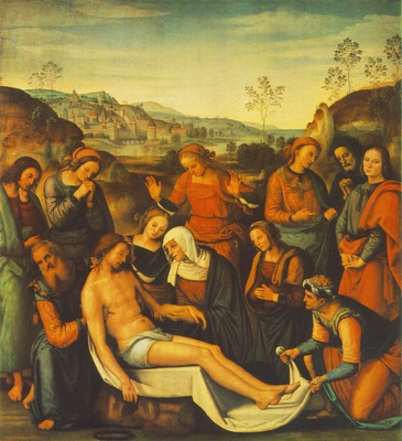 Perugino The Mourning of the Dead Christ Deposition , 1495,
