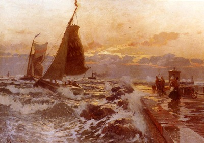 Petersen Angeln Heinrich Sailing Ships Returning In Heavy Seas