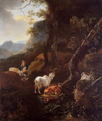 Pijnacker Adam Young shepherd with cattle Sun