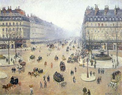 Pissarro Avenue de lOpera, Place du Theatre Francais  Misty
