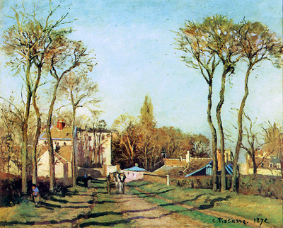 Pissarro Camille Entry into the village of Voisins Sun