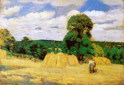 Pissarro Camille Harvest in Montfoucault Sun