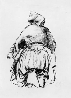 Pissarro Camille Kneeling woman Sun