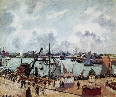 Pissarro Camille Outer harbour of Le Havre Sun