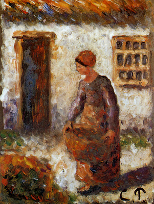 Pissarro Camille Peasant woman with basket Sun