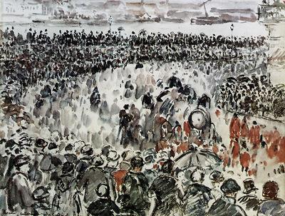 Pissarro Camille Rouen burial of Cardinal Bonnechose Sun
