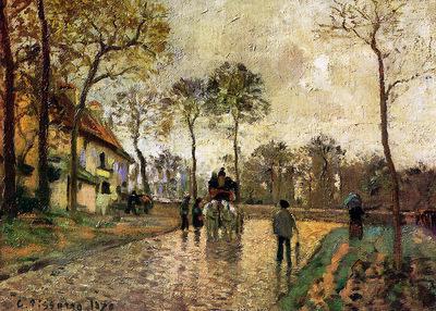 Pissarro Camille Stagecoach to Louveciennes Sun