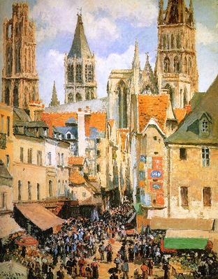 Pissarro Camille The old market at Rouen Sun