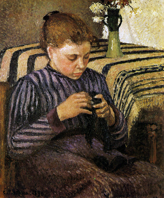 Pissarro Camille Young woman mending Sun