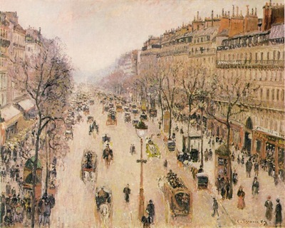 pissarro le boulevard montmartre  morning, grey weather,