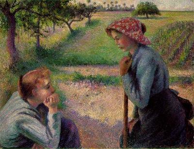 Pissarro Two ypung peasant women, 1892, 89x165 cm, Metropoli