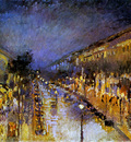 Pissarro Camille Boulevard Montmartre at Night Sun
