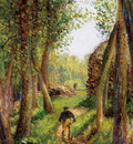 Pissarro Camille Forest scene with two figures Sun
