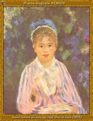 po par 064 jeune femme au corsage raye bleu et rose