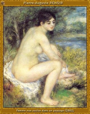 po par 170 femme nue assise dans un paysage