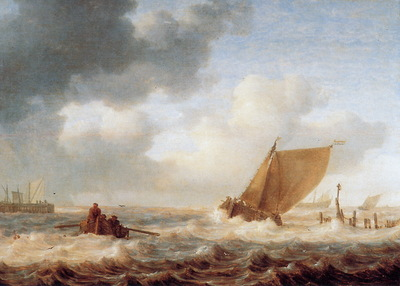 Porcellis Jan River branch with ships in choppy weather Sun