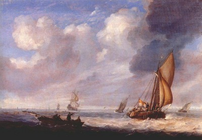 porcellis,julius single master and rowing boat in light breeze c late 1640s