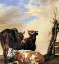 potter paulus two cows and a bull beside a fence sun
