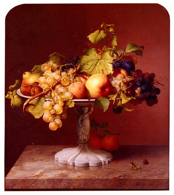 Preyer Johann Wilhelm A Still Life With A Bowl Of Fruit On A Marble Table