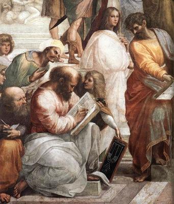 Raffaello Stanze Vaticane The School of Athens detail [04]