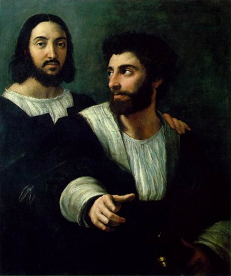 Raffaello Portrait of the Artist with a Friend, traditionall