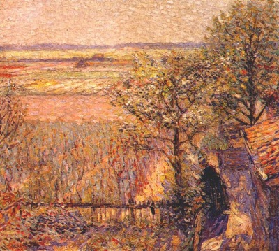 raphael fields and flowering trees noordwijk, holland c1912